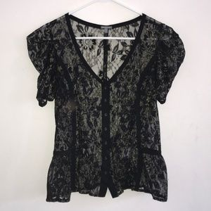 Black and gold lace button down peplum blouse